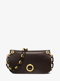 Goldie French Calf Shoulder Bag - COFFEE - 31F16BGLL2