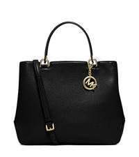 Anabelle Large Leather Tote - BLACK - 30S6GAPT3L