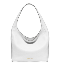 Lena Large Leather Shoulder Bag - OPTIC WHITE - 30S6GL1L7L