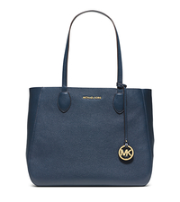 Mae Large Leather Tote - NAVY/WHITE - 30S6GM5T3L