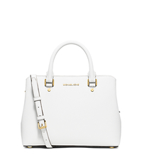 Savannah Medium Saffiano Leather Satchel - OPTIC WHITE - 30S6GS7S2L