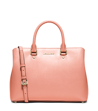 Savannah Large Patent Saffiano Leather Satchel - PEACH - 30S6GS7S3A