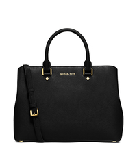 Savannah Large Saffiano Leather Satchel - BLACK - 30S6GS7S3L