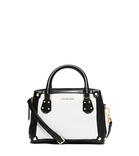 Taryn Small Leather Satchel - WHITE/BLACK - 30S6GTBS1T