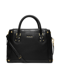 Taryn Large Leather Satchel - BLACK - 30S6GTBS3L