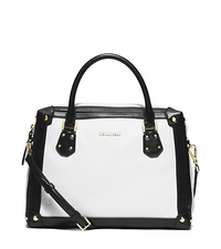 Taryn Large Leather Satchel - WHITE/BLACK - 30S6GTBS3T