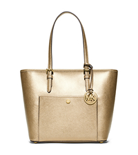 Jet Set Travel Medium Metallic Saffiano Leather Tote - PALE GOLD - 30S6MTTT6M