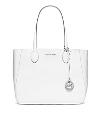 Mae Large Leather Tote - WHITE/SILVER - 30S6SM5T3M