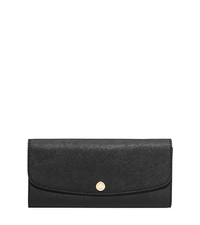 Juliana Large Saffiano Leather Wallet - BLACK/WHITE - 32S6GJRE1T