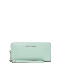 Jet Set Travel Saffiano Leather Continental Wristlet - CELADON - 32S6STVE4A