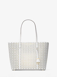 Desi Medium Perforated-Leather Tote - OPTIC WHITE - 30H6GDFT2T