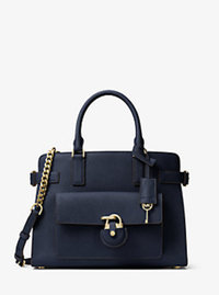 Emma Saffiano Leather Satchel - NAVY - 30H6GENS2L