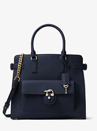 Emma Large Saffiano Leather Tote - NAVY - 30H6GENT3L