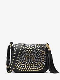 Brooklyn Medium Studded Leather Saddlebag - BLACK - 30H6TJ9M8T