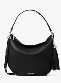 Brooklyn Large Convertible Leather Hobo - BLACK - 30F6ABNH3L