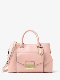 Haley Large Leather Satchel - BLOSSOM - 30F6GILS3L