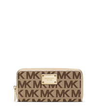 Jet Set Travel Continental Wallet - BEIGE/EBONY/GOLD - 32S12JSE3J