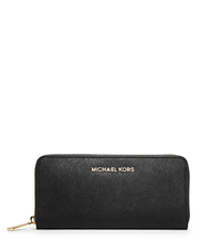 Jet Set Travel Saffiano Leather Continental Wallet - BLACK - 32S3GTVE3L