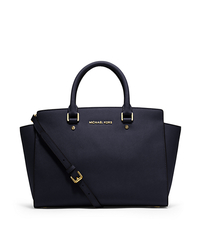 Selma Large Saffiano Leather Satchel - NAVY - 30S3GLMS7L