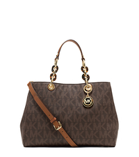 Cynthia Logo Medium Satchel - BROWN - 30S3TCYS2B
