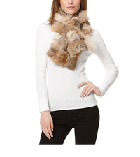 Fur Patchwork Scarf - NATURAL - MF30B039A5