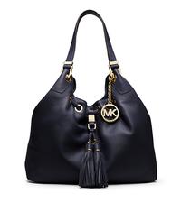 Camden Large Leather Drawstring Shoulder Bag - NAVY - 30S4GMDE3L