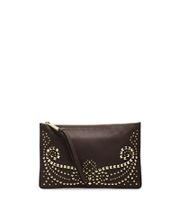Rhea Studded Leather Large Zip Clutch - CHOCOLATE - 32F4GRAW3L