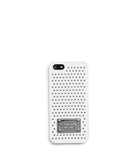 Micro-Stud Saffiano Phone Case For iPhone 5 - OPTIC WHITE - 32F4SELL1K