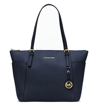 Jet Set Large Top-Zip Saffiano Leather Tote - NAVY - 30F4GTTT9L
