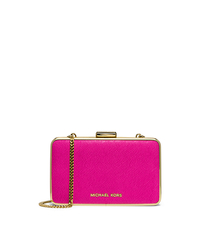 Elsie Saffiano Leather Box Clutch - RASPBERRY - 30H4GBXC1L