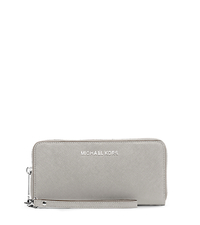 Jet Set Travel Large Saffiano Leather Phone Wristlet - PEARL GREY - 32H4STVE9L