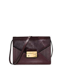 Gia Medium Calf Hair and Python Shoulder Bag - BORDEAUX - 31F5GGAL2O