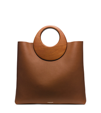 Summerset Wooden-Handle Leather Tote - LUGGAGE - 31H5PSUT3L