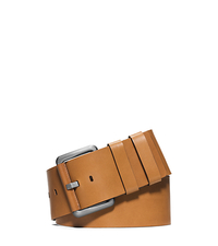 Wide Leather Belt - LUGGAGE - 31S6PBLH5T