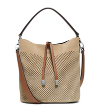 Miranda Medium Perforated Suede Shoulder Bag - SAND - 31S6PMDL2S