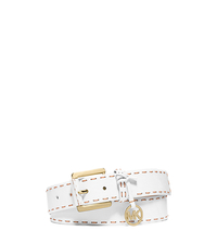 Top-Stitch Leather Belt - WHITE/LUGGAGE - 551540