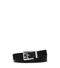 Reversible Metallic and Embossed-Leather Belt - BLACK - 553518
