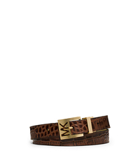 Reversible Metallic and Embossed-Leather Belt - CHOCOLATE - 553518