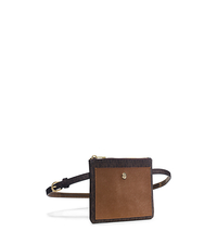 Logo Leather-Pouch Belt - BROWN - 554553