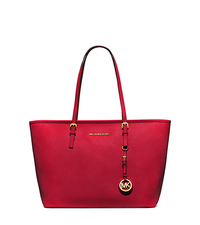 Jet Set Travel Saffiano Leather Top-Zip Tote - CHILI - 30S4GTVT2L