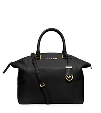 Riley Large Pebbled-Leather Satchel - BLACK - 30S5GRLS3L