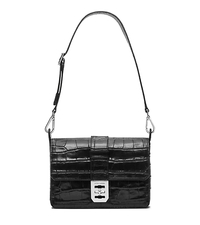 Mila Large Embossed-Leather Shoulder Bag - BLACK - 30S5SIMF2E