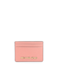 Jet Set Travel Saffiano Leather Card Case - PALE PINK - 32S4GTVD1L