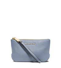 Rhea Large Pebbled-Leather Zip Pouch - PALE BLUE - 32S5GEZM2L