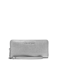 Jet Set Travel Metallic Leather Continental Wallet - SILVER - 32S5MTVE9M