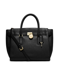 Hamilton Traveler Large Leather Satchel - BLACK - 30H5GHXS3L