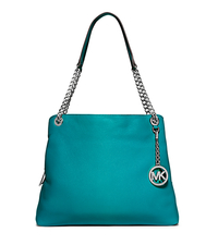 Jet Set Large Leather Tote - TURQUOISE - 30S5STCE3L