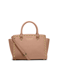 Selma Medium Studded Saffiano Leather Satchel - BLUSH - 30T3GSMS2L