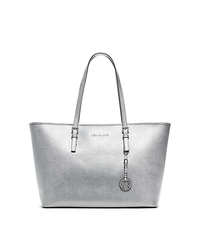 Jet Set Travel Medium Metallic Saffiano Leather Tote - SILVER - 30T5MTVT2M