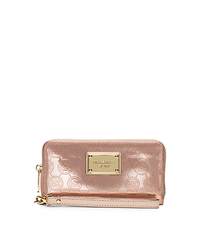 Jet Set Large Patent-Leather Smartphone Wristlet - ROSE GOLD - 32S5MTTE9Z